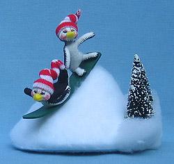 "Annalee 3"" Snowboarding Penguins - Mint - 807603"