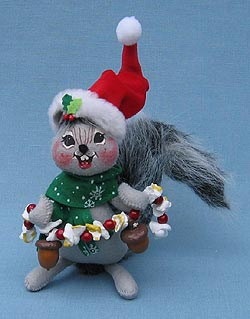 """Annalee 6"""" Nuts About Christmas Squirrel with Popcorn - Mint - 808407"""