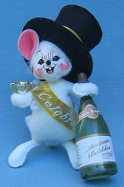 "Annalee 4"" Celebration Mouse with Champagne Bottle - Mint - 820305"