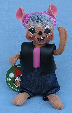 "Annalee 6"" Motorcycle Biker Babe Mouse - Mint - 860015"