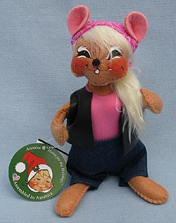 """Annalee 6"""" Motorcycle Biker Babe Mouse with Blonde Pony Tail - Mint - 860015blsqoxt"""