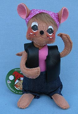 "Annalee 6"" Motorcycle Biker Babe Mouse - Mint - 860015ox"