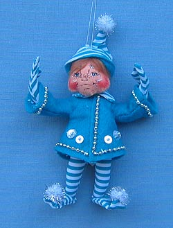 "Annalee 5"" Blue Candycane Elf Ornament - Mint - 948106"