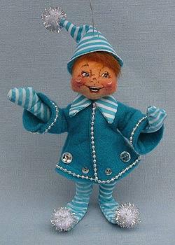 "Annalee 5"" Blue Candycane Elf Ornament - Excellent - 948106a"