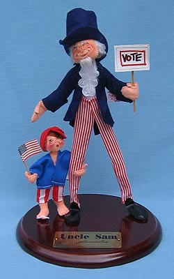 "Annalee 14"" Uncle Sam with 5"" Child - Mint / Near Mint - 965292"