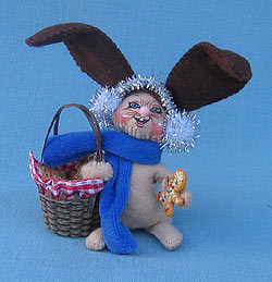 "Annalee 3"" Gingerbread Bunny with Basket - Mint - 969304"