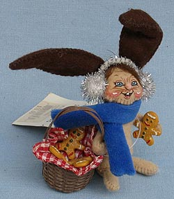 """Annalee 3"""" Gingerbread Bunny with Basket - Excellent - 969304a"""