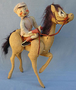 """Annalee 18"""" Jockey Riding 18"""" Brown Horse - Poor - Exclusive - A309-75prb"""