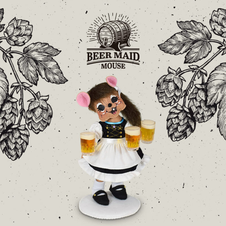 """Annalee 6"""" Helga Beer Maid Mouse - Mint - 860021sqxt"""