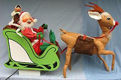 "Annalee Motorized Sleigh with 29"" Santa, 18"" Jackfrost Elf & 36"" Reindeer -Very Good - C292-77"