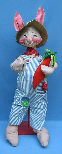 """Annalee 48"""" Country Boy Bunny with Carrot - Near Mint / Excellent - D60-81"""