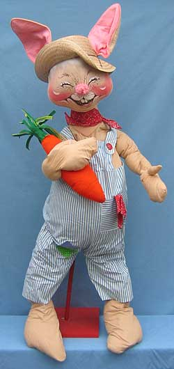 "Annalee 48"" Country Boy Bunny with Carrot - Excellent - D60-81a"
