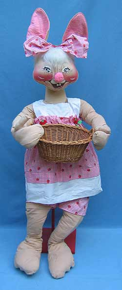 "Annalee 48"" Country Girl Bunny with Basket - Excellent - D70-82a"