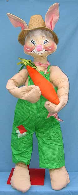 "Annalee 48"" Country Boy Bunny with Carrot - Excellent - D72-82a"
