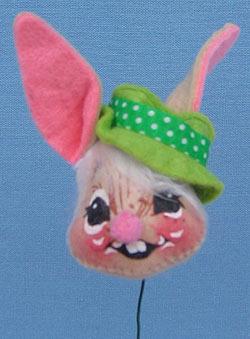 "Annalee 3"" Boy Bunny Head Pick - Mint - G692-82"