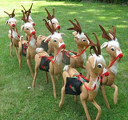 "Set of Eight 36"" Annalee Reindeer with Saddlebags - Mint / Excellent - N104-79set1"