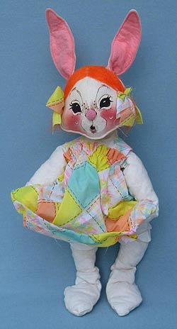 "Annalee 18"" Country Girl Bunny with Apron Cardholder - Ooh Mouth - Near Mint - S24-78ooh"