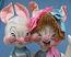 """Annalee 29"""" E.P. Boy & Girl Bunny - Very Good - S63-S62-76a"""