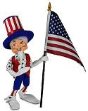 "Annalee 9"" Uncle Sam Elf with Flag 2021 - Mint - 260821"