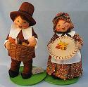 "Annalee 12"" Pilgrim Boy with Basket & Girl with Pie - Leaf Print - Mint - 3083-3084-95"