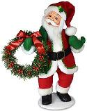 "Annalee 15"" Very Merry Santa with Wreath 2020 - Mint - 410520"