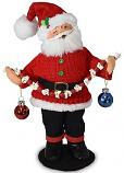 "Annalee 9"" Christmas Whimsy Santa with Popcorn & Ornaments 2020 - Mint - 410620"