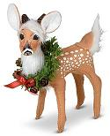 """Annalee 5"""" Holiday Cheer Fawn with Wreath 2021 - Mint - 460021"""