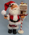"Annalee 9"" Santa with Gingerbread Birdhouse - Near Mint - 526204a"