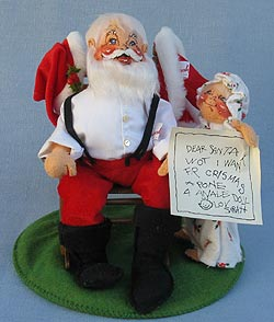 "Annalee 10"" Santa in Rocking Chair & Child Christmas Wishes - Mint - 540087"