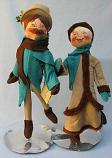"""Annalee 18"""" Man & Woman Victorian Skaters - Excellent"""