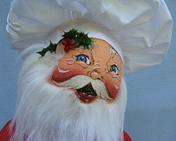"""Annalee 18"""" Chef Santa Holding Tray with Gingerbread Cookies - Excellent - 563295a"""