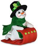 """Annalee 3"""" Toboggan Snowman Ornament 2020 - Mint - 710420"""