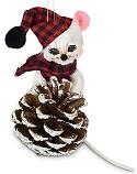 """Annalee 3"""" Winter Woods Pine Cone Mouse Ornament 2021 - Mint - 710421"""