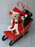 """Annalee 6"""" Santa Mouse in Sleigh - Near Mint - 769103sq"""
