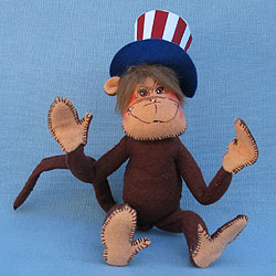 "Annalee 6"" Patriotic Monkey with Uncle Sam Hat - 2006 - Mint - 807406cc"